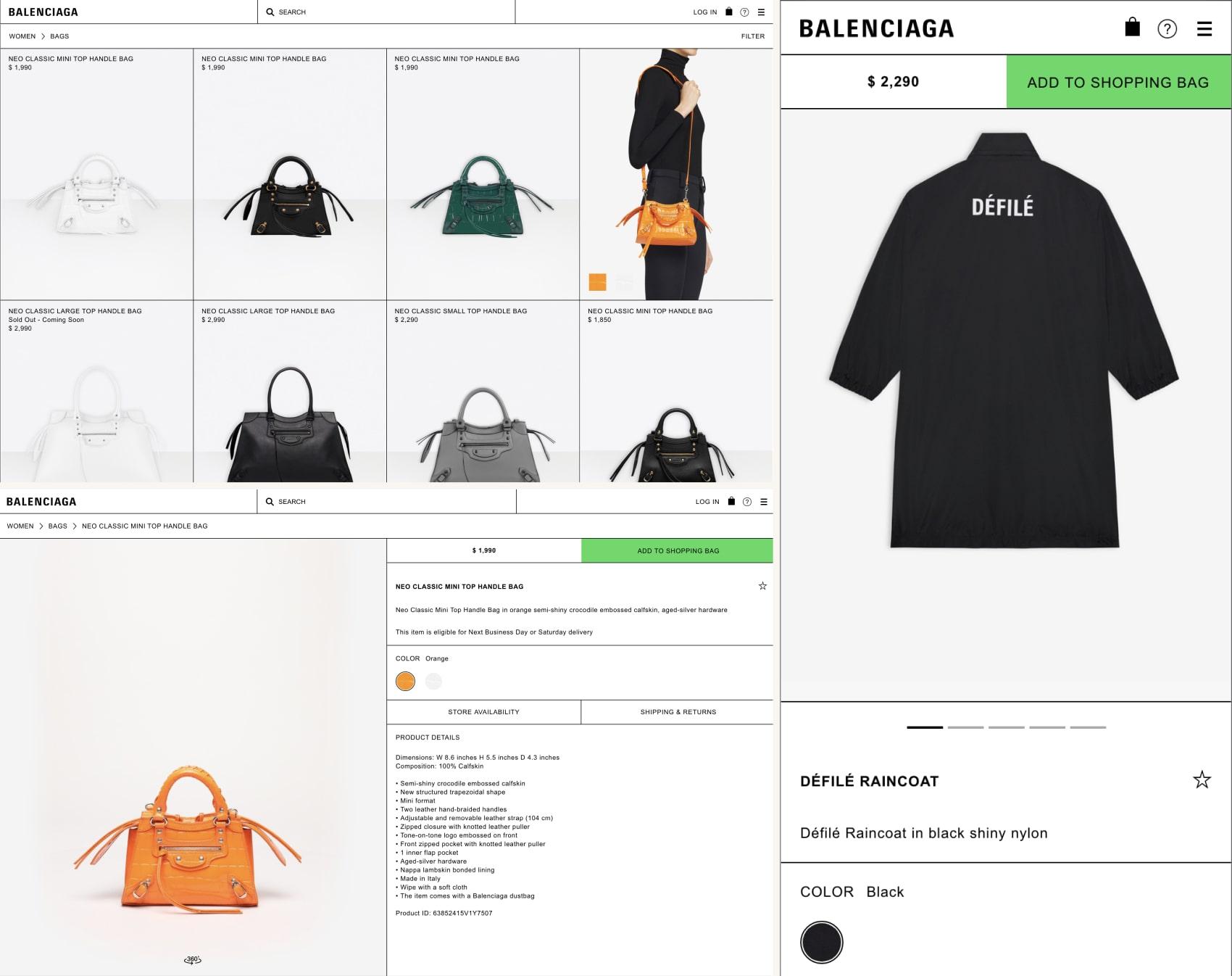 дизайн интернет магазина balenciaga.com